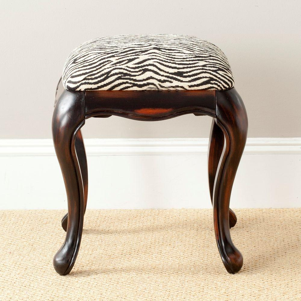 Safavieh rebecca zebra cotton vanity stool amh4030a the home depot - Black and white vanity stool ...