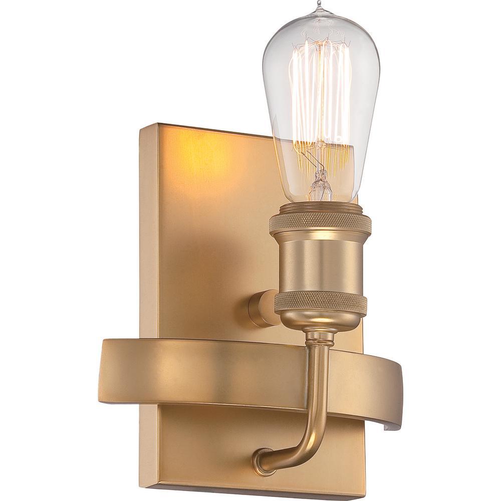 1-Light Natural Brass Wall Sconce