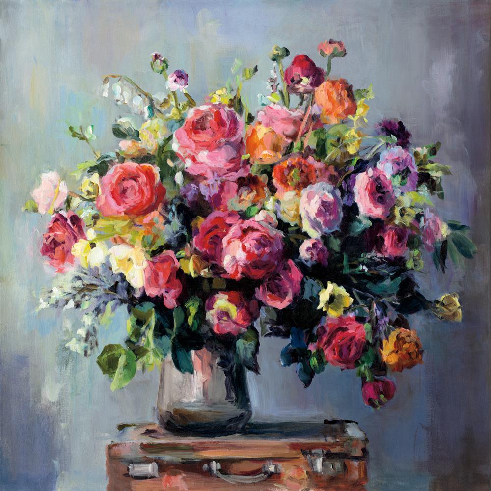 """72 in. x 72 in. """"Abundant Bouquet"""" by Marilyn Hageman Printed Framed Canvas Wall Art"""