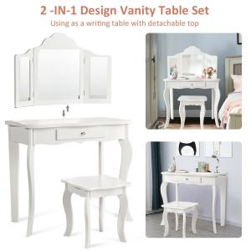 Costway 2-Piece Vanity Table Set Bedroom Set Makeup Dressing ...