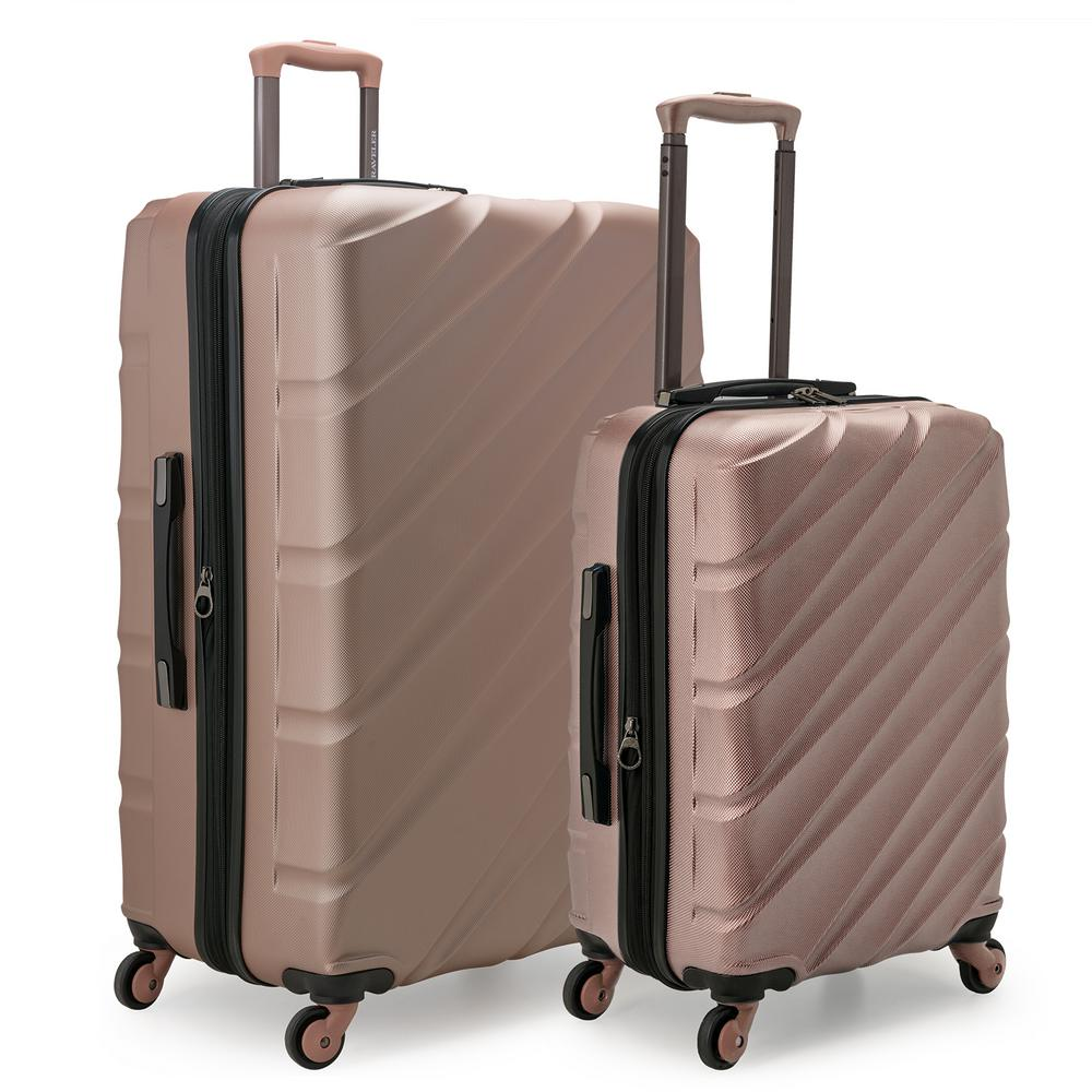 Gilmore 2-Piece Rose Gold Expandable Hardside 4-Wheel Spinner Luggage Set with