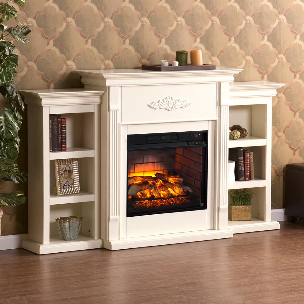 Greenfield 70.25 in. W Infrared Electric Fireplace with Bookcases in Ivory