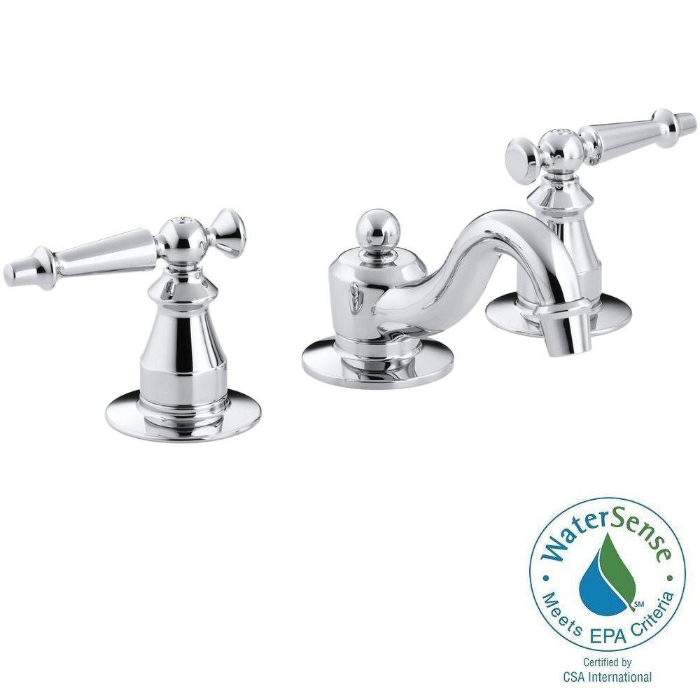 KOHLER Antique 8 in. Widespread 2-Handle Low-Arc Bathroom Faucet in Polished Chrome with Lever Handles