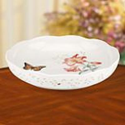Butterfly Meadow 10.75 in. Dia 64 oz. Multi Color Low Serving Bowl