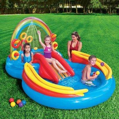 117 in. x 76 in. Rectangular 8 in. Rainbow Ring Play Center Pool