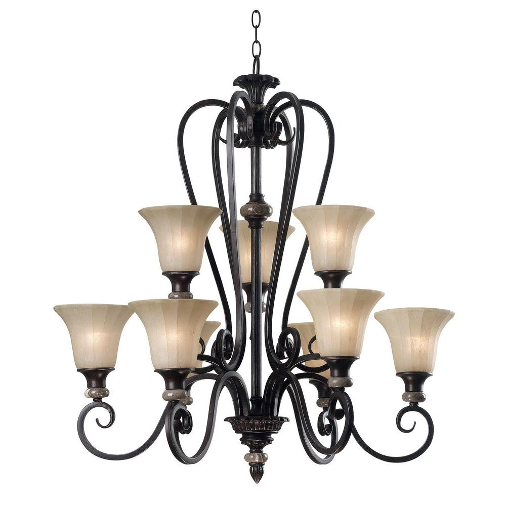 Kenroy Home Leafston Mercury Bronze Finish with Brown Marble Accents 9-Light Chandelier -DISCONTINUED