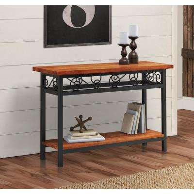 Artesian Brown Scrollwork Console with Chestnut Finish Top