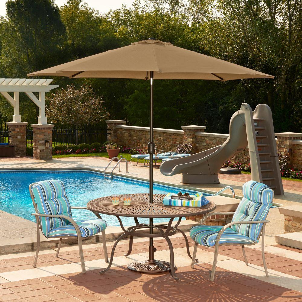 Mirage 9 ft. Octagonal Market Umbrella with Auto-Tilt in Stone Olefin