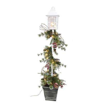 5 ft. Pre-Lit  LED Artificial  Christmas Swag on Lamp Post with  50 LED White Lights