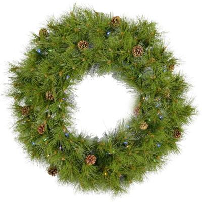 48 in. Eastern Pine Artificial Holiday Wreath with Multi-Colored Battery-Operated LED String Lights