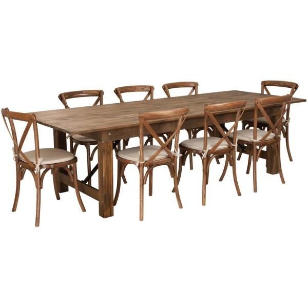 Carnegy Avenue 9 Piece Antique Rustic Farm Table Set Cga Xf 225875 An Hd The Home Depot