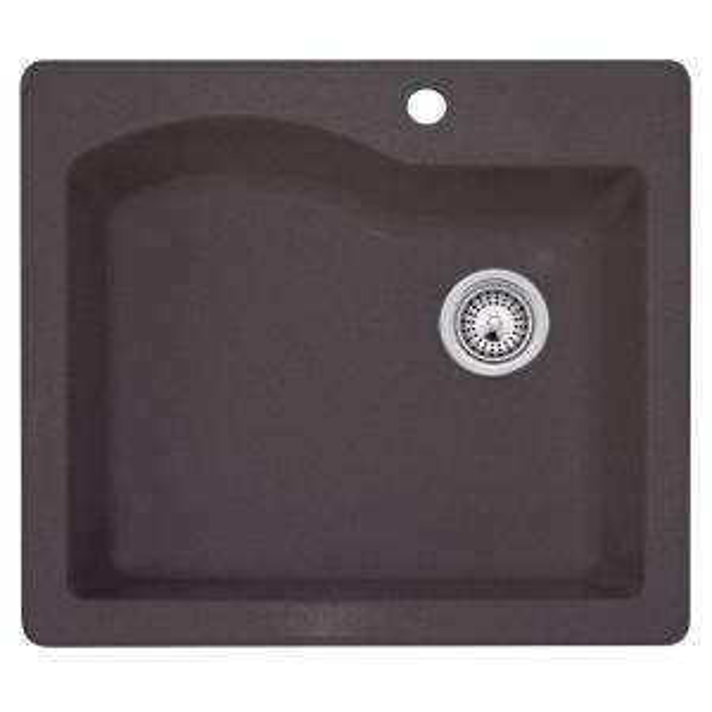 Swan Dual Mount Granite 25 inch 1-Hole Single Bowl Kitchen Sink in Nero by Swan
