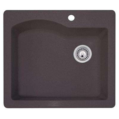 Drop-In/Undermount Granite 25 in. 1-Hole Single Bowl Kitchen Sink in Nero