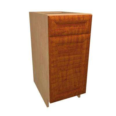 18x34.5x24 in. Dolomiti Base Cabinet with 1 Wire Pullout Tray 1 Soft Close Door and 1 Soft Close Drawer in Cognac