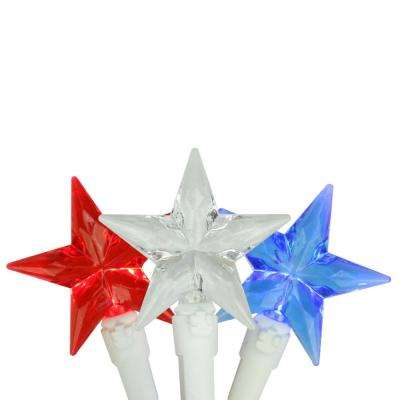 Set of 30 Red White and Blue 4th of July Patriotic LED Star Lights with White Wire
