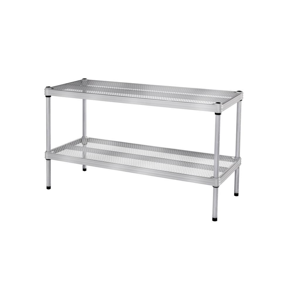 Design Ideas MeshWorks 30.75 in. x 11.8 in. x 15.75 in. 2-Tier Silver Shoe Shelf