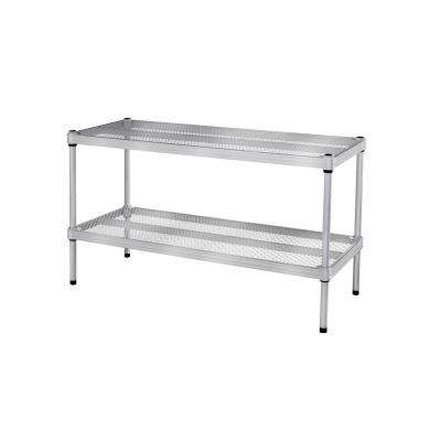 MeshWorks 30.75 in. x 11.8 in. x 15.75 in. 2-Tier Silver Shoe Shelf