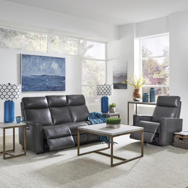 Home Styles Nuovo 2-Piece Gray Leather Power Motion Reclining Sofa and
