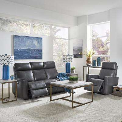 Nuovo 2-Piece Gray Leather Power Motion Reclining Sofa and Recliner