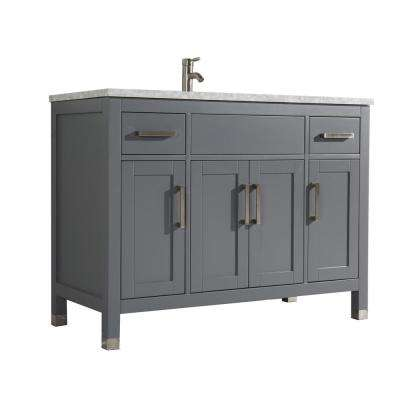Reisa 48 in. W x 22 in. D x 36 in. H Bath Vanity in Grey with Grey/White Carrara Marble Vanity Top with White Basin