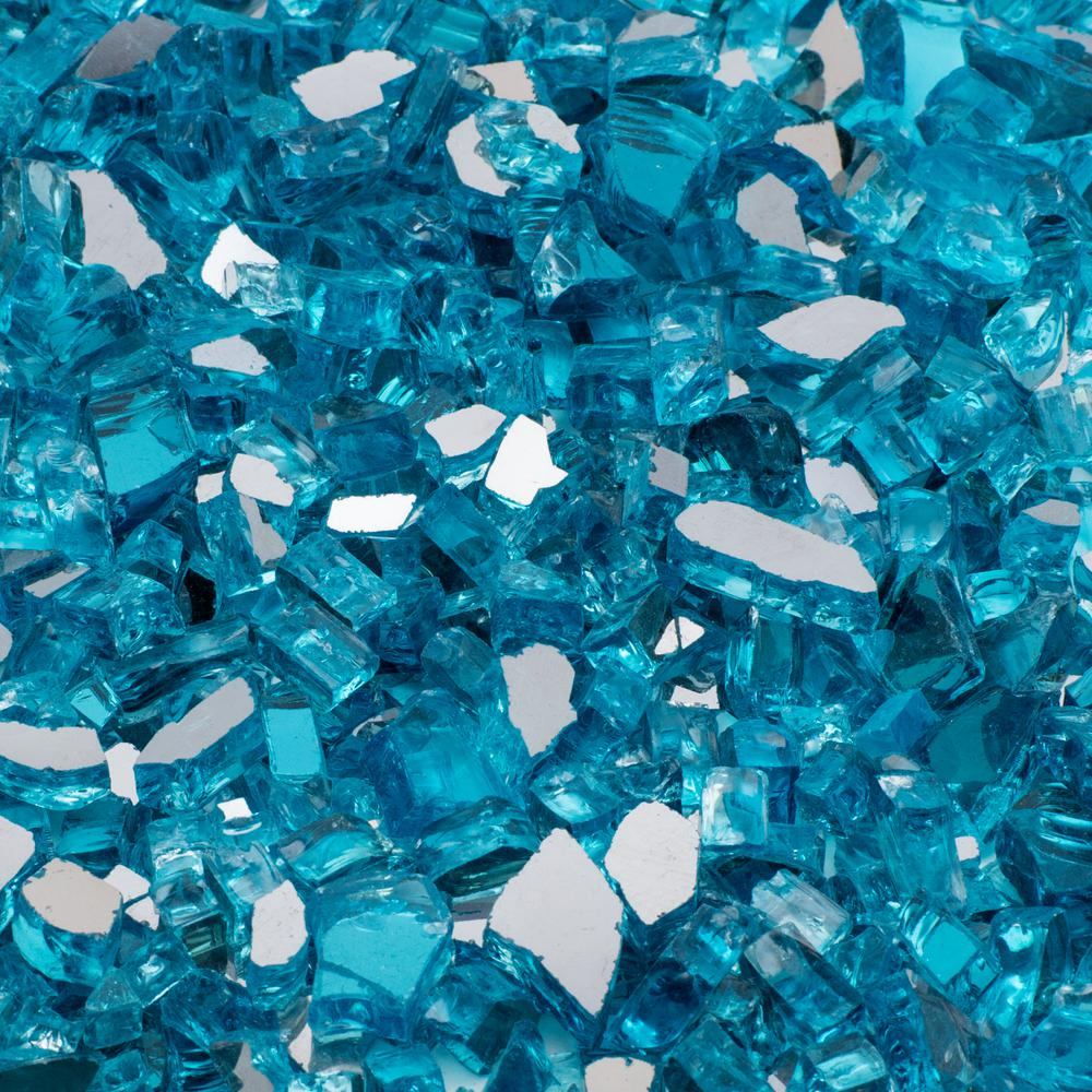 1/2 In. 2200 Lb. Medium Caribbean Blue Reflective Tempered Fire Glass