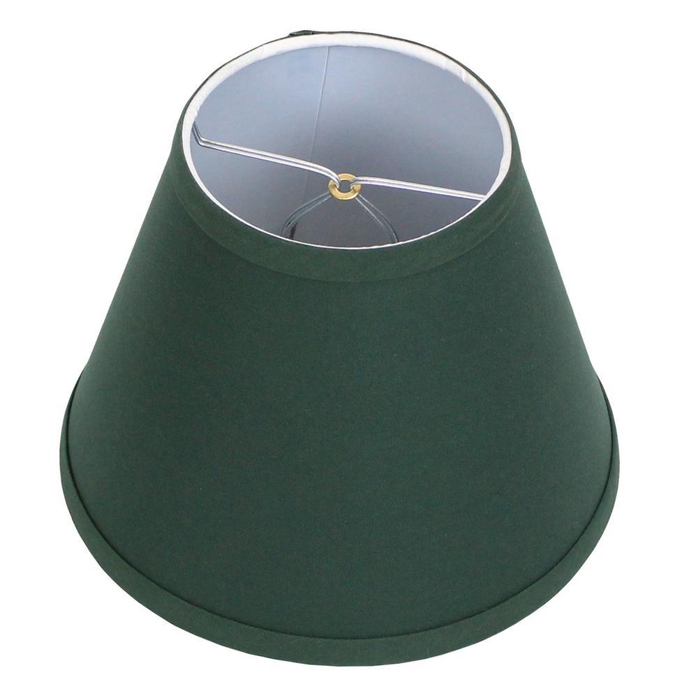 Fenchel Shades 5 in. Top Diameter x 9 in. Bottom Diameter x 7 in. Slant, Empire Lamp Shade - Linen Hunter Green