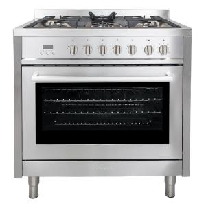 Click here to buy Cosmo Commercial-Style 36 inch 3.8 cu. ft. Dual Fuel Range with 8 Function Convection Oven in Stainless Steel by Cosmo.