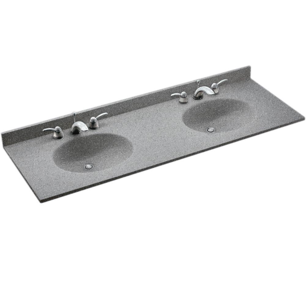 Chesapeake 61 in. W x 22.5 in. D Solid Surface Double Sink Vanity Top in Gray Granite