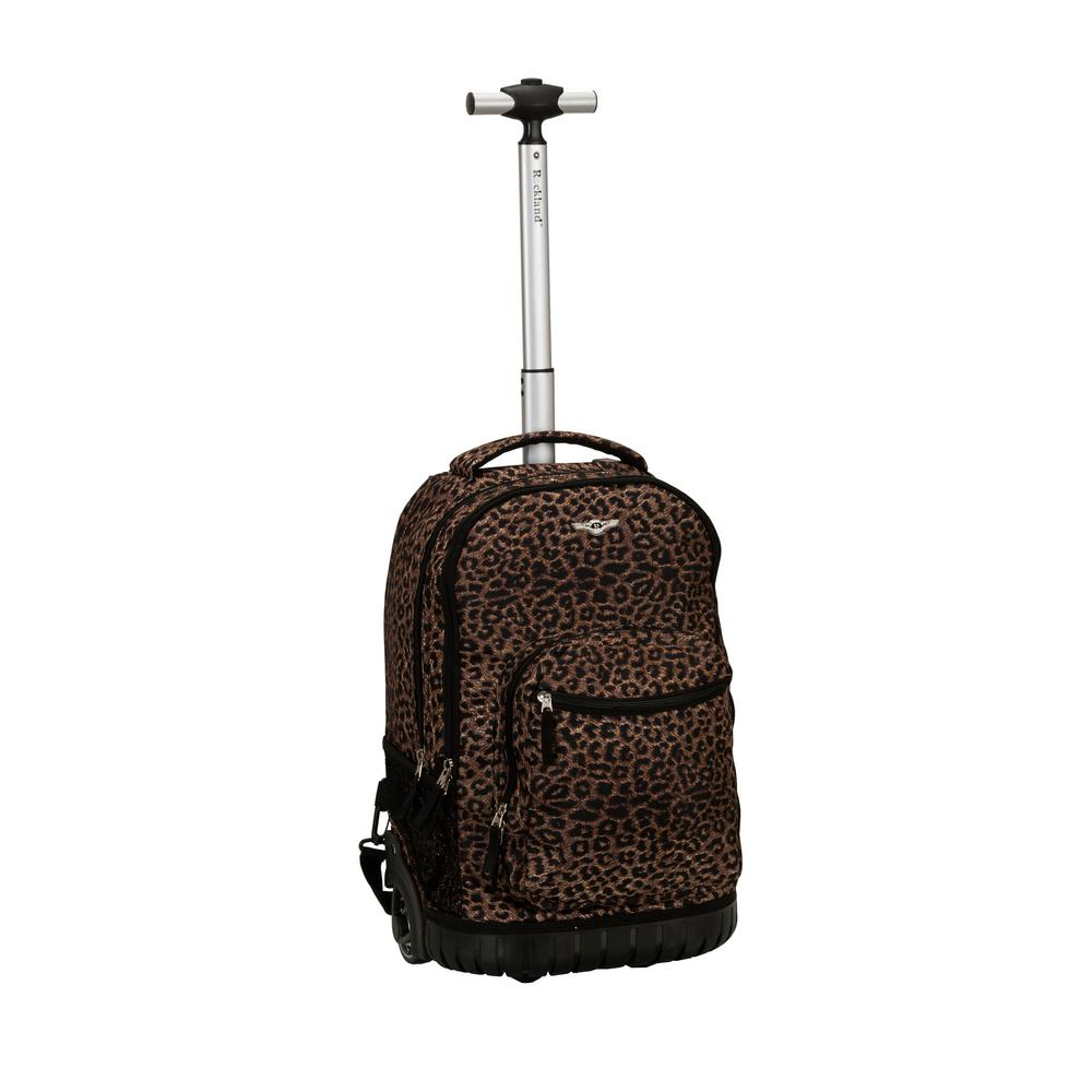 Rockland 19 in. Leopard Rolling Backpack