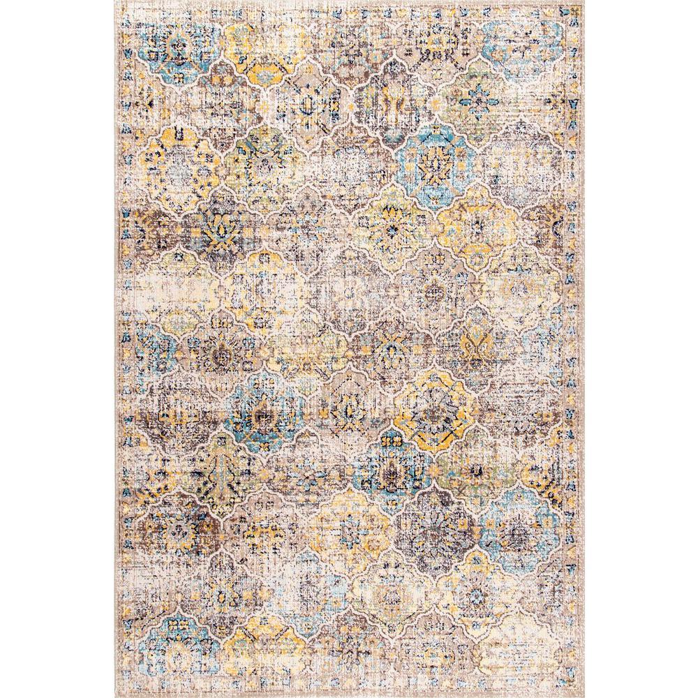 Delilah Distressed Moroccan Tiles Beige 5 ft. x 8 ft.  Area Rug