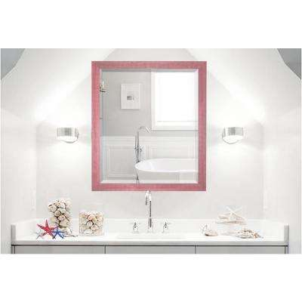 35.5 in. x 23.5 in. Vintage Pink Framed Beveled Vanity Mirror