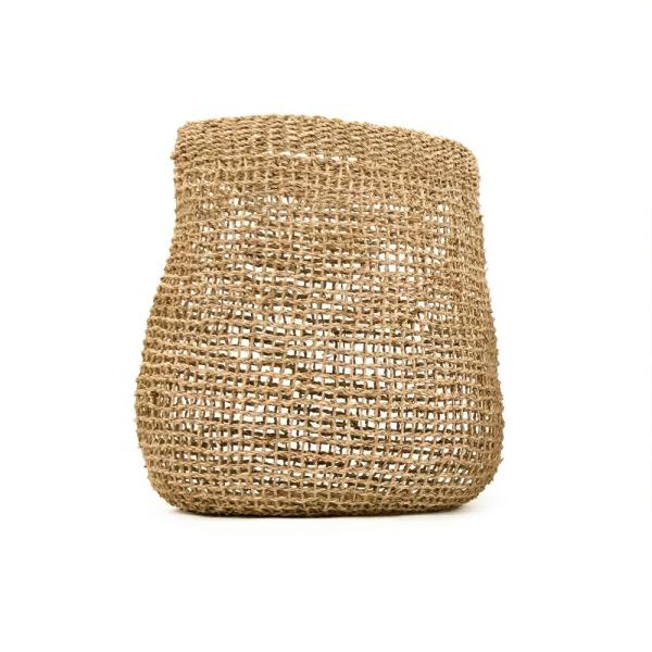 Concave Cylindrical Sparsely Hand Woven Wicker Seagrass Large Basket without Handles