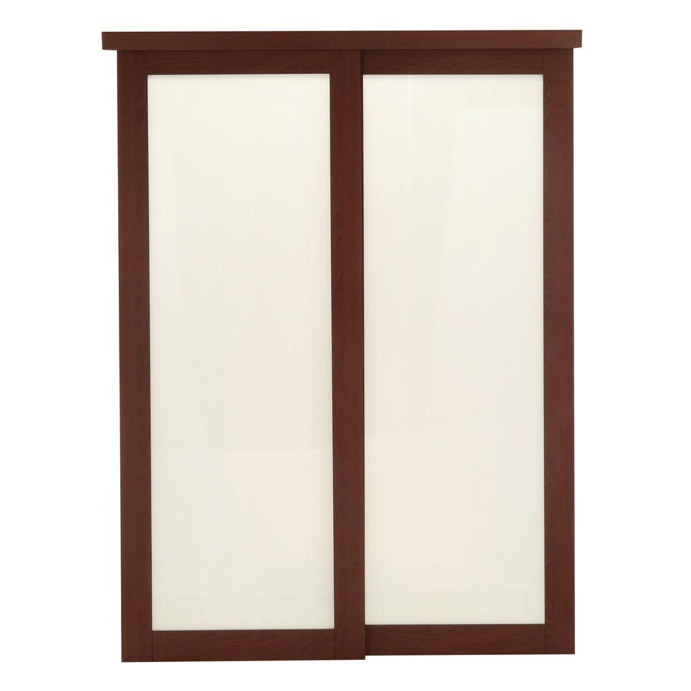 TRUporte 60 in. x 80 in. 2000 Series Cherry 1 Lite Composite Universal Grand Sliding Door
