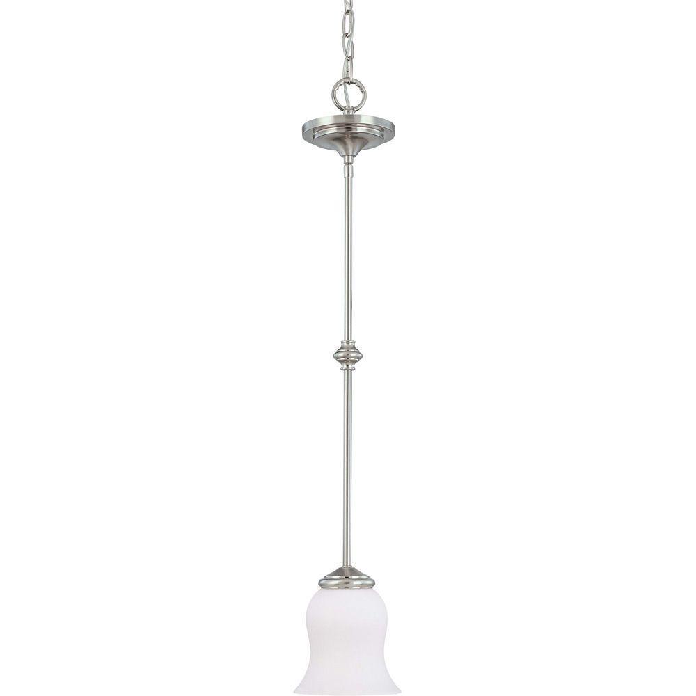Glomar 1-Light Brushed Nickel Mini Pendant with Satin White Glass