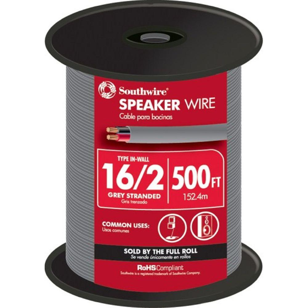 Southwire (By-the-Foot) 16-2 Gray Solid CU In-Wall Speaker Wire