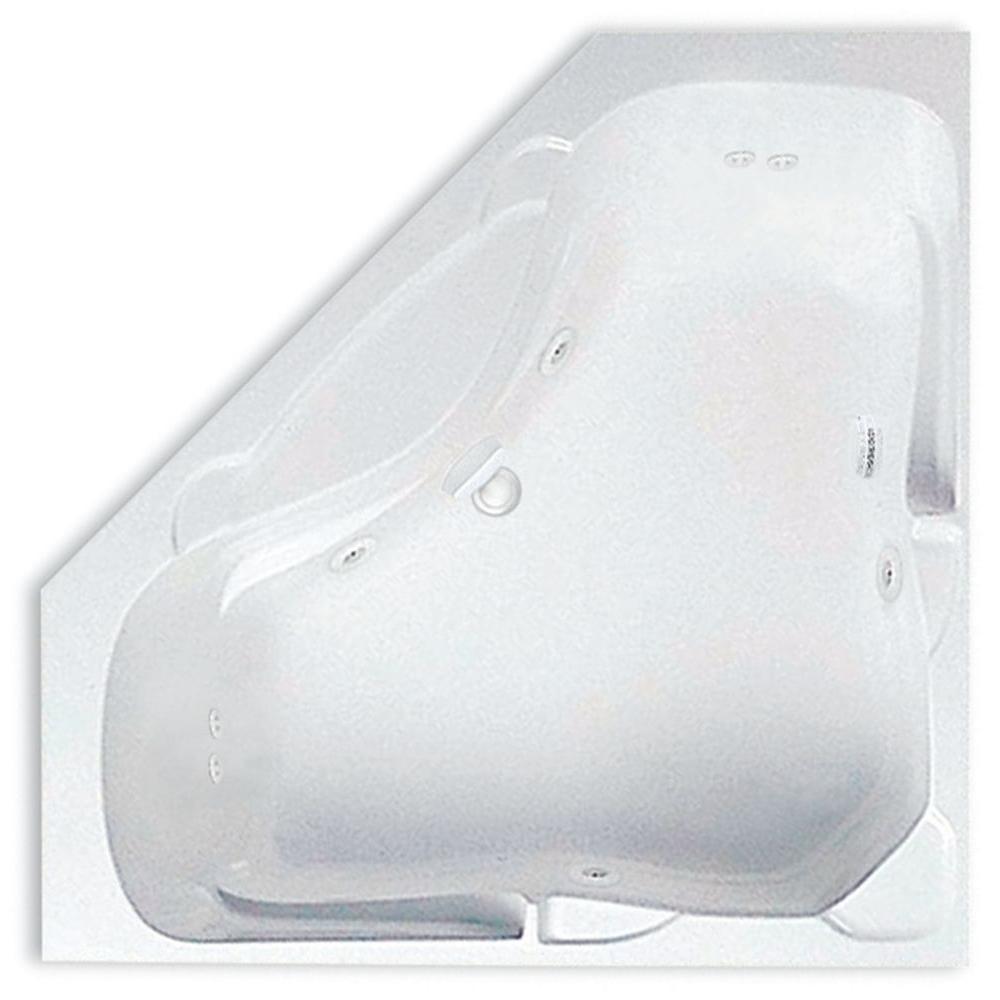 Acrylic Center Drain Corner Drop In Whirlpool Bathtub In White