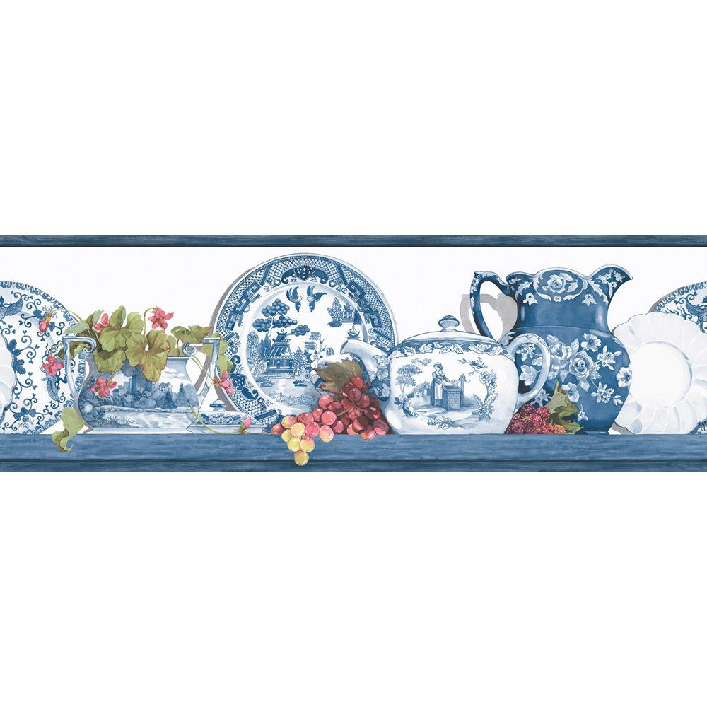 The Wallpaper Company 6.83 in. x 15 ft. Blue Willow Border