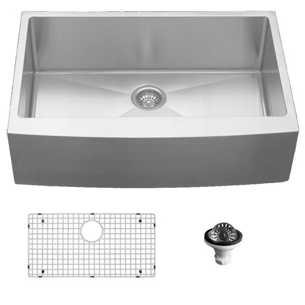 Stainless Steel 33 in. Single Bowl Farmhouse Apron Front Kitchen Sink Kit