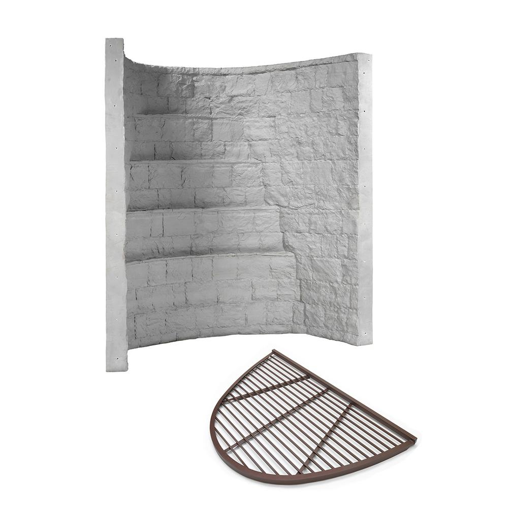 Rockwell 66 in. x 44 in. x 96 in. Grey Elite Composite Window Well with Metal Bar Grate