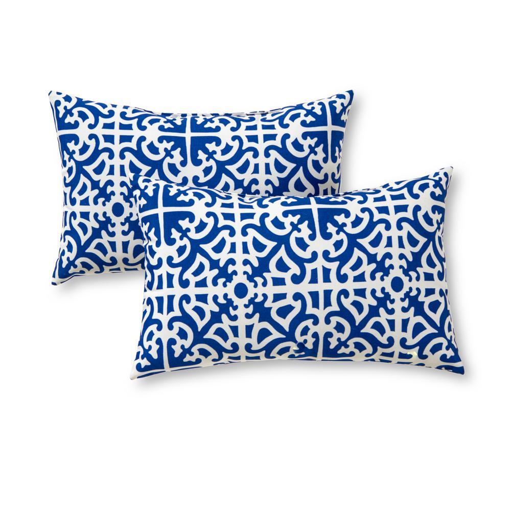 Indigo Lattice Lumbar Outdoor Throw Pillow (2-Pack)