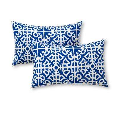 Indigo Lattice Lumbar Outdoor Throw Pillow (2-Pack)