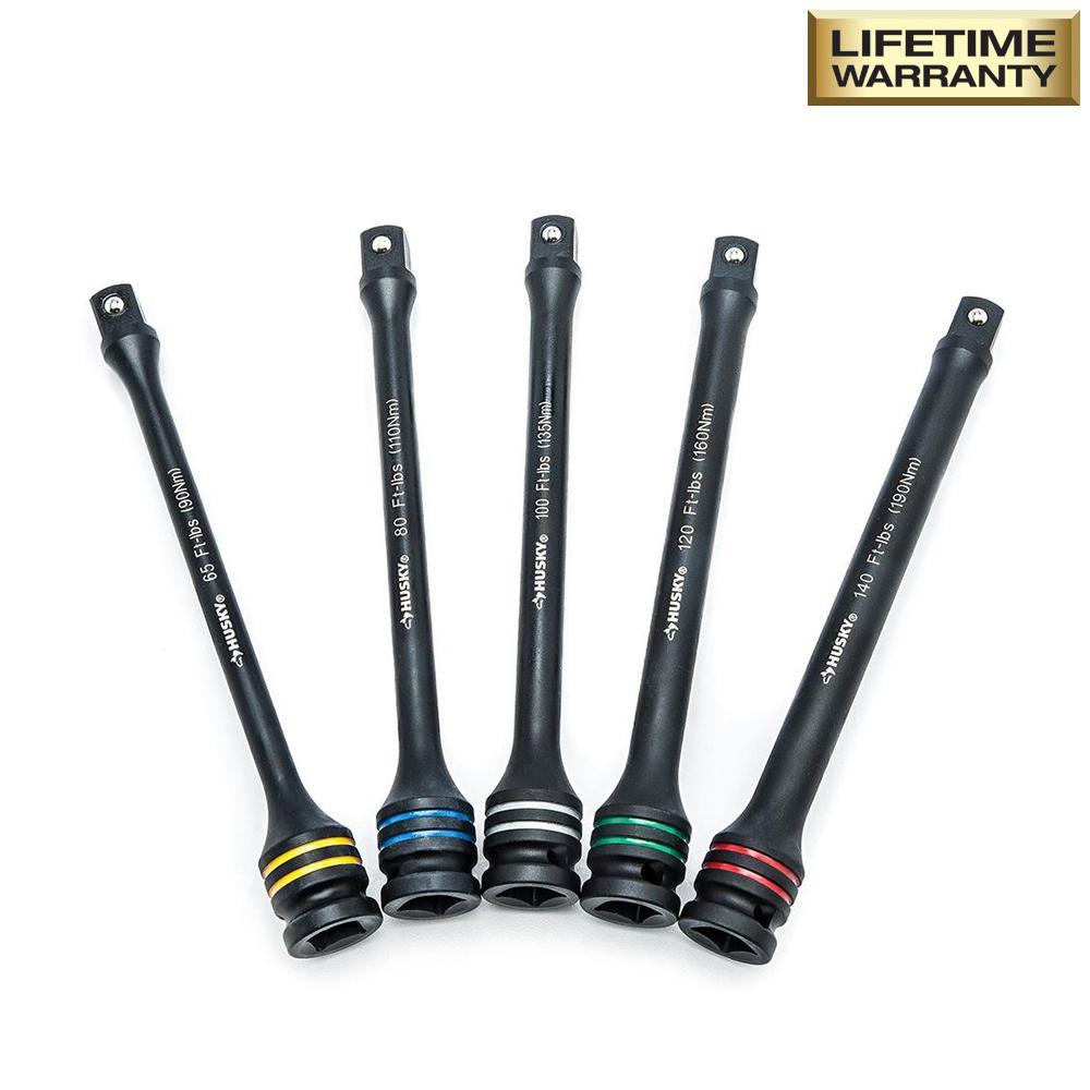65-140 ft. lbs. Torque Limiting Impact Extension Bar Set (5-Piece)