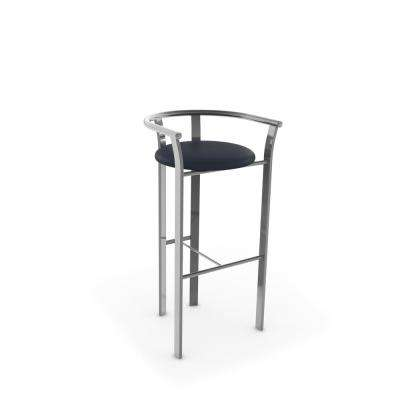 Lolo 27 in. Navy Blue Faux Leather / Glossy Grey Metal Counter Stool