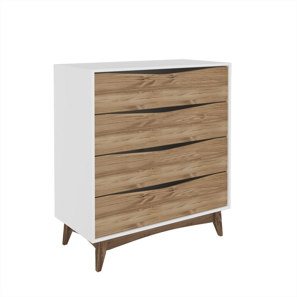 Manhattan Comfort Hamilton 3503 In Wide 4 Drawer White And Wood