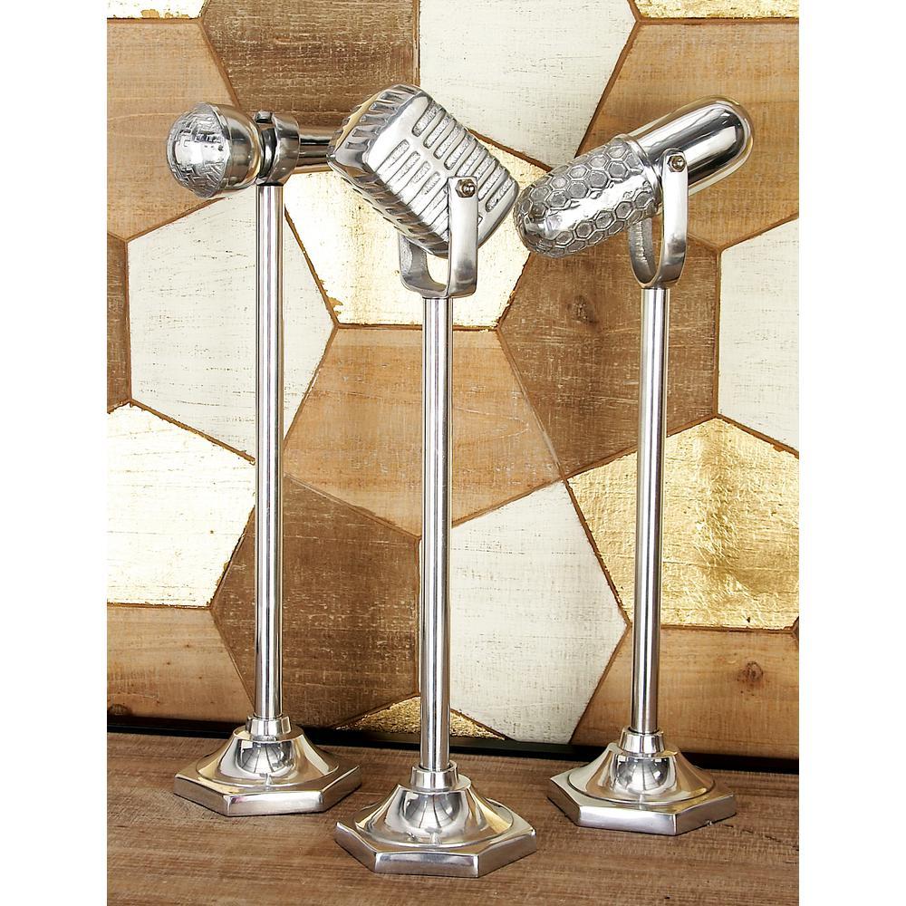 Vintage Microphone Decorative Sculpture in Polished Silver (Set of 3)