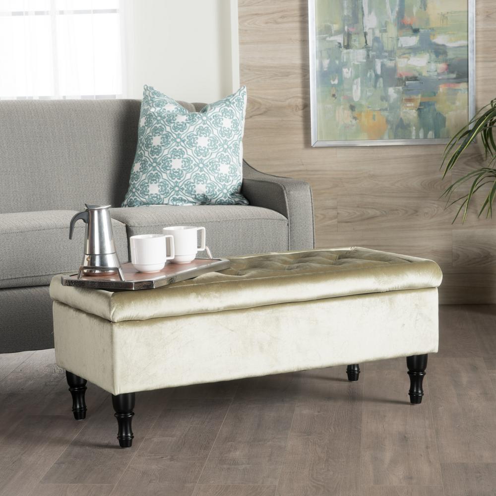 Terrific Noble House Chantelle Tufted Pistachio New Velvet Storage Inzonedesignstudio Interior Chair Design Inzonedesignstudiocom
