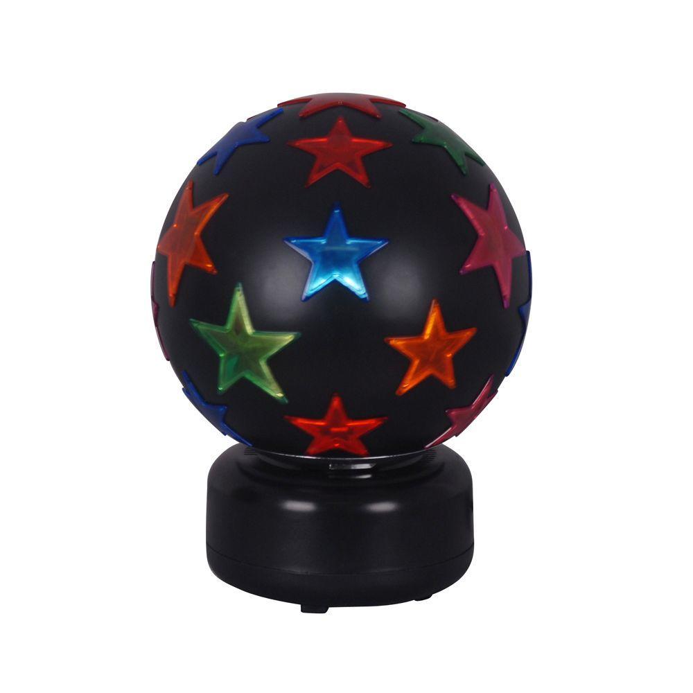 Alsy 8 in. Black Disco Ball with Multi Color Stars