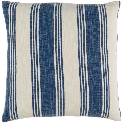 Grafton Navy Striped Polyester 22 in. x 22 in. Throw Pillow