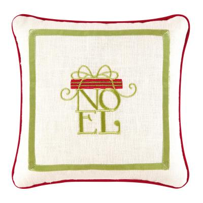 Green 10 in.  x 10 in. Noel Pillow