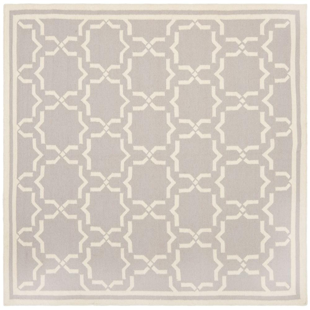 Dhurries Grey/Ivory 8 ft. x 8 ft. Square Area Rug